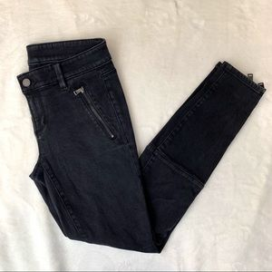 Ann Taylor Womens Black Denim Zipper Skinny Jeans